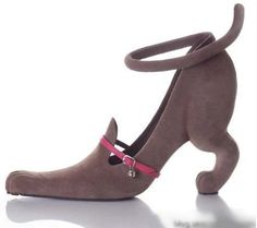 For the animal lover in your life: a pair of kitten heels by Kobi Levi. BAHAH the idea is hilarious but these are god awful. Cat Shoes, Shoe Boots, Funny Shoes, Weird Shoes, Pointy Boots, Schuster, Pumps, Shoe Art, Ciabatta