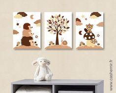 Lot de 3 illustrations pour chambre de bébé et d'enfant garçon hérisson castor animaux forêt marron réf.83 : Décoration pour enfants par cashemir