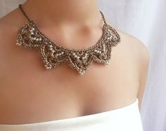 gold necklace dainty Bridal choker Pearl lace by DIDIcrochet