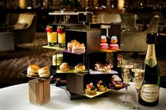 #hightea #presentation  Revolving high tea stand design for JW Marriott Galaxy Macau. S4-F1-59-SR422 check out more on http://the-glass-co.com/glass-dinnerware/high-tea-afternoon-tea-stands/