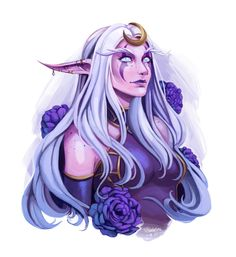 I sketched my druid today and then wanted to color it. : ) Really inspired by the new raid so I had to put her in her Suramar dress. World Of Warcraft, Warcraft Art, Dnd Characters, Fantasy Characters, Female Characters, Elfa, Character Portraits, Character Art, Character Design