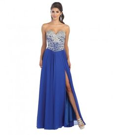 This is a long blue dress with a high slit. The bodice is embellished with crystals with a corset back. ......Price - $200.00-FZ7sdXVP