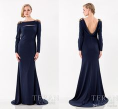 Sexy Evening Dresses 2015 Elegant Long Sleeves Navy Blue Evening Dresses Bateau Neck Backless Charming Shoulder With Applique Sweep Train Formal Party Gowns Ah07 Plus Size Evening Dresses Australia From Engerlaa, $131.02| Dhgate.Com