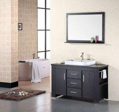 "Washington 48"" Single Sink Vessel Sink Vanity Set in Espresso"