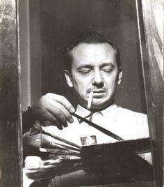Cândido Portinari com seus pincéis e paleta. Rio de Janeiro, 1943. Cândido Portinari foi um pintor brasileiro nascido em Brodowski, estado de São Paulo, Brasil, em 30/12/1903 e falecido em 06/02/1962 no Rio de Janeiro, RJ, Brasil.