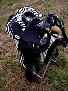 "18"" Western Cordura Trail Barrel Pleasure SADDLE SET TACK Zebra have this saddle"