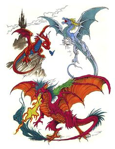 Colored Flying Dragons Tattoos Design