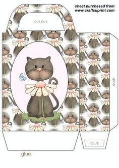 Cute floral cat gift bag 5 on Craftsuprint designed by Stephen Poore - Cute floral cat gift bag,you will need to print 2 sheets to make gift bag,instructions can be found in the forum - Now available for download!