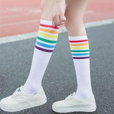 Rainbow Socks, Rainbow Outfit, Rainbow Clothes, Rainbow Stuff, Rainbow Fashion, Rainbow Nails, Football Socks, Football Girls, Thigh High Socks