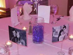 Here is one of many uniquely decorated guest tables at Lindsey and Yuri's wedding reception in Erie, PA on December 28, 2013.