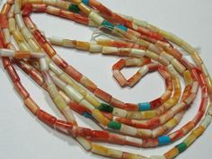 """Natural Spiny Oyster Shell 2-3mmx4-6mm Tube Beads 22"""" with Turquoise Accents"""
