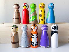 Zoo Animals and Zoo Keeper Wooden Peg Doll Set Nativity Peg Doll, Baby Due Date, Zoo Keeper, True Gift, Infant Loss, Wooden Pegs, Baby Crafts, Zoo Animals, Animal Paintings