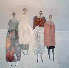 Kristin Vestgard ~ Successful exhibitions is enabling Kristin to paint almost everyday. From her studio in Redruth, Treruffe Art Studios, Kristin is creating her world of quirky and poetic figures, shoes and cups and working with the spaces around the figures, telling peculiar stories.