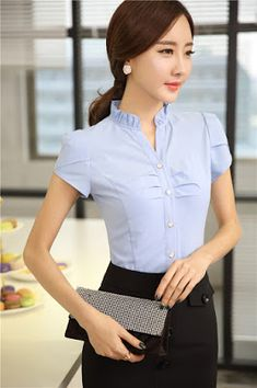Fashion Elegant Chiffon Blouse For Ladies Office Summer Shirts Tops Uniform Style Business Women Short Sleeve Blusa Femininas _ - AliExpress Mobile Version - Blouse Styles, Blouse Designs, Moda Formal, Western Outfits, Slimming World, Business Fashion, Casual Tops, Skinny, Clothes For Women