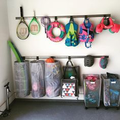 🙌🏻🙌🏻 Elfa tracks are so functional fo. 🙌🏻🙌🏻 Elfa tracks are so functional for organizing recreational items. We also love the flexibility it offers… Garage Organisation, Garage Storage Solutions, Diy Garage Storage, Storage Organization, Outdoor Toy Storage, Clean Garage, Garage Shed, Garage House, Garage Workshop
