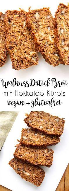 Walnuss-Dattel-Brot mit Hokkaido (vegan + glutenfrei) A recipe for a walnut-date bread with Hokkaido pumpkin, which is full of flavors. Vegan Baking, Healthy Baking, Bread Baking, Healthy Desserts, Easy Healthy Recipes, Whole Food Recipes, Vegan Recipes, Bread Recipes, Gluten Free Pumpkin