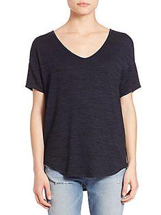 Rag & Bone Melrose Femme T-Shirt - Navy - Size