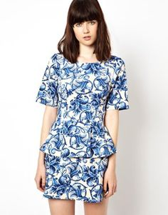 ASOS Peplum Top in Blue China Print