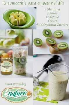 Health and Fitness on Share Sunday - A smoothie a day… apple, kiwi, banana, yogurt & honey… sign me up. I usually have a smoothie a - Easy Smoothies, Smoothie Drinks, Green Smoothies, Loose Weight Smoothies, Healthy Morning Smoothies, Dinner Smoothie, Freezer Smoothies, Smoothies For Kids, Oatmeal Smoothies