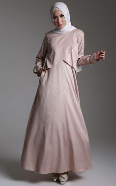 Dress - Kamila by Teti Hermawan - Embose Dress Islamic Fashion, Muslim Fashion, Modest Fashion, Fashion Dresses, Dress Anak, Hijab Trends, Muslim Dress, Abaya Fashion, Mode Hijab