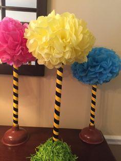 {DIY} Lorax Flower Pots & Plunger Truffula Trees