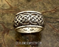 KELLS KNOT - Celtic woven band with open knotwork sterling silver 12.3mm wide