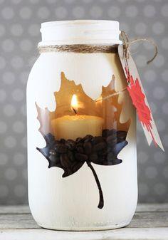 DIY peekaboo Mason jar candleholder