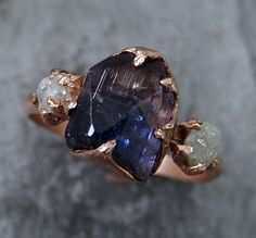Raw Diamond Tanzanite Ring Two Tone Gemstone 14k by byAngeline