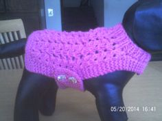 X Small, Worested Weight, Patterned, Pink Dog Jacket  / Sweater