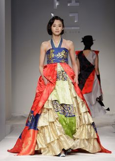 A Model walks down the catwalk during the South Korean Traditional Costume 'HanBok' fashion show on October 21, 2011 in Seoul, South Korea. ...