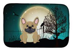 Halloween Scary French Bulldog Cream Dish Drying Mat BB2200DDM