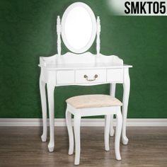 Toaletný stolík so zrkadlom a taburetom Zara Dressing Table With Chair, White Dressing Tables, Dressing Table Mirror, Vintage Makeup, Feng Shui, Bratislava, Ikea, Shabby Chic, New Homes
