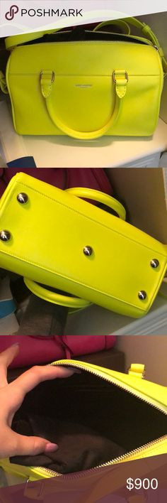 Ysl neon yellow crossbody Used once like new condition comes with dust bag. Very cute small for daily wear Yves Saint Laurent Bags Crossbody Bags
