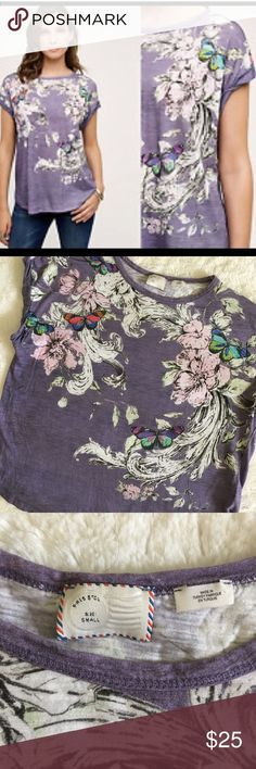 Anthropologie Postmark banter butterfly tee Anthropologie Postmark banter purple floral cap sleeve tee with floral butterfly print. Gently used, good condition. Offers welcome. Bundle and save. Anthropologie Tops Tees - Short Sleeve