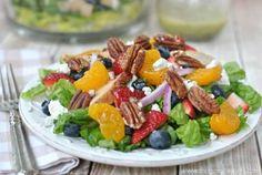 Delicious Summer Strawberry Pecan Salad with Lemon Poppyseed Dressing recipe. Copycat Panera salad, so easy, so good.