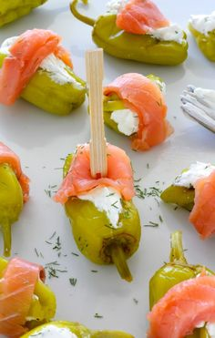 Smoked Salmon and Cream Cheese Stuffed Pepperoncini - quick, easy, and SO delish!