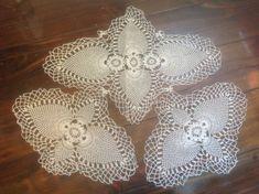 Check out 3 French Vintage, Crochet Doillies, Fine Exquisite Craftmanship. 1 Large & 2 Smaller Vintage Crochet Dolilies. Pineapple Dressing Table Set. on fleursenfrance
