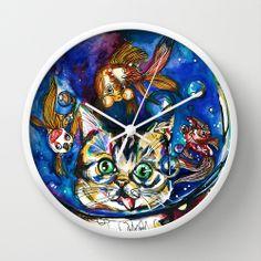 WALL CLOCK   Cat Fish. Illustration by Gra Pereira. http://society6.com/grapereira/Cat-Fish-jrf_Wall-Clock#33=283&34=285
