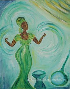 Hand-painted Figure Oil Painting - African Lady Dancing
