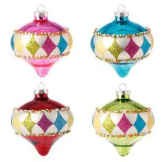 """RAZ Kismet Christmas Ornament Set of 4  4 Assorted kismet shaped ornaments Set includes one of each style Multicolored, diamond pattern Made of Glass Measures 4.5"""" Artist: Kitt Wichmann"""
