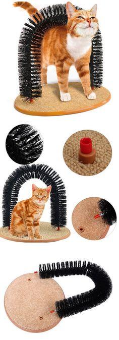 US$13.91 Cat Self-Groomer Arch Plastic Bristles Kitten Massager Scratcher Carpet Pet Toy #CatFondo