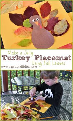 Make this silly turkey placemat with your kiddo using beautiful fall leaves!
