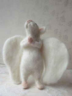 Needle-Felted White Mouse Angel