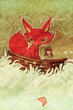 fox in boat