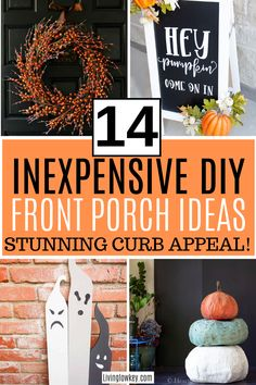 Are you ready to decorate for fall? Here are 14 inexpensive DIY fall decor hacks for your front porch. I love these easy DIY ideas. #frontporchdecor #DIYhomedecor #fallhomedecor #DIYfallhomedecor