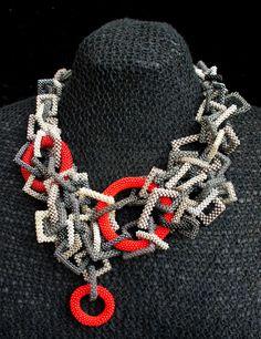 CIRCLES & SQUARES necklace - internal winner of the EBW November 2012 challenge. $680.00, via Etsy.    Love it.