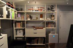 Trendy Home Office Design Ideas Ikea Bookshelves Office Space Decor, Home Office Organization, Home Office Desks, Home Office Furniture, Office Spaces, Office Shelving, Gym Room At Home, Home Design Living Room, Home Decor Inspiration