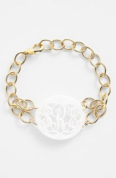 Women's Moon and Lola 'Annabel' Medium Oval Personalized Monogram Bracelet - Snow/ Gold (Nordstrom Exclusive)
