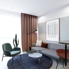 Small & Stylish Four Homes Under 50 Square Meters is part of - Each small home includes beautiful furnishings and stunning modern design, though they measure less than 50 square meters Showroom Interior Design, Condo Interior, Interior Design Living Room, Modern Interior, Living Room Designs, Casa Milano, Futuristisches Design, Curved Sofa, Hotel Interiors