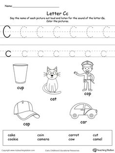 **FREE** Words Starting With Letter C Worksheet. Teach the beginning letter sound by saying the name of each picture and then allow your child to trace the uppercase and lowercase letter C in this printable activity worksheet.